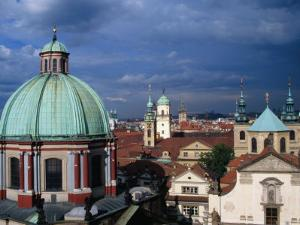 Church of St. Francis and Rooftops and Towers of Old Town, Prague, Czech Republic by Richard Nebesky