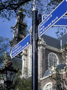 Close-Up of Direction Sign for Major Sights Along Canal, Amsterdam, the Netherlands (Holland) by Richard Nebesky