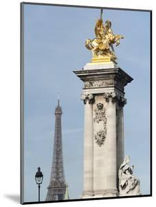 Decorated Pillar of Alexandre Iii Bridge and the Eiffel Tower, Paris, France, Europe by Richard Nebesky