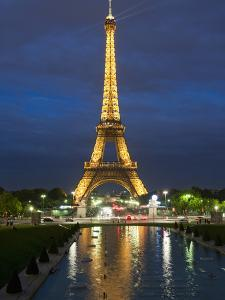 Eiffel Tower and Reflection at Twilight, Paris, France, Europe by Richard Nebesky