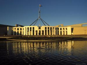 Exterior of Parliament House, Early Morning, Canberra, A.C.T., Australia by Richard Nebesky