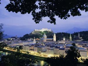Festung (Fortress) Hohensalzburg at Twilight, Salzburg, Salzburgland, Austria, Europe by Richard Nebesky