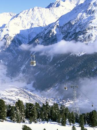Gondolas Rising Above Village of Solden in Tirol Alps, Tirol, Austria