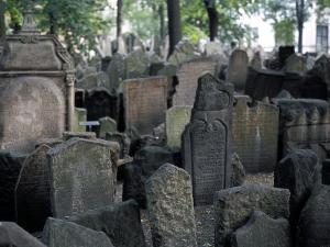 Headstones in the Graveyard of the Jewish Cemetery, Josefov, Prague, Czech Republic by Richard Nebesky