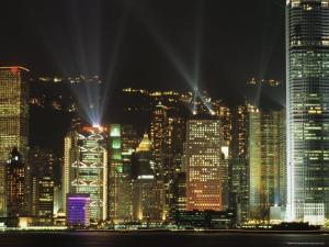 Hong Kong Island Central Skyline at Night from Tsim Sha Tsui, Hong Kong, China, Asia by Richard Nebesky