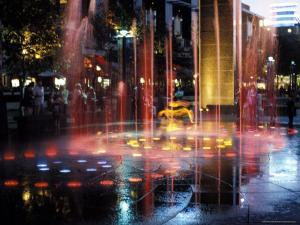 Illuminated Water Fountain, South Bank, Melbourne, Victoria, Australia by Richard Nebesky