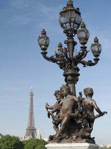 Lamp on the Alexandre Iii Bridge and the Eiffel Tower, Paris, France, Europe by Richard Nebesky