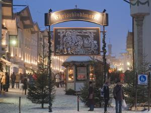 Main Entrance to Christkindlmarkt (Christmas Market), Marktstrasse at Twilight, Bavaria by Richard Nebesky