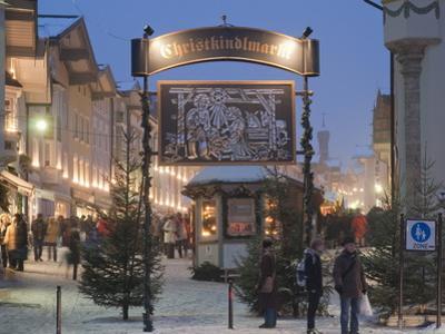 Main Entrance to Christkindlmarkt (Christmas Market), Marktstrasse at Twilight, Bavaria