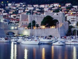 Medieval Revelin Fort with Marina in Foreground, Dubrovnik, Croatia by Richard Nebesky