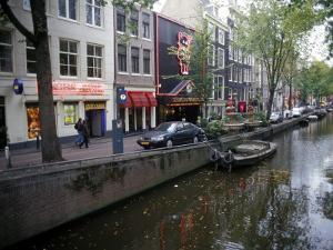 Red Light District Along One of the City Canals, Amsterdam, the Netherlands (Holland) by Richard Nebesky