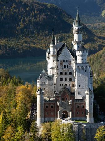 Romantic Neuschwanstein Castle and German Alps During Autumn, Southern Part of Romantic Road, Bavar