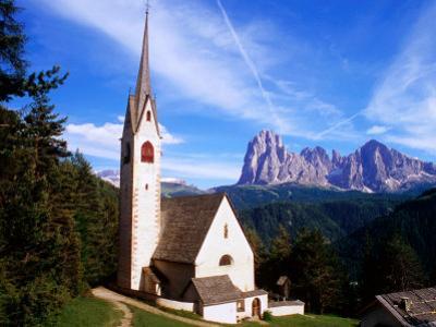 San Giacomo Church and Sassolungo Range Across Val Gardena, Dolomiti Di Sesto Natural Park, Italy