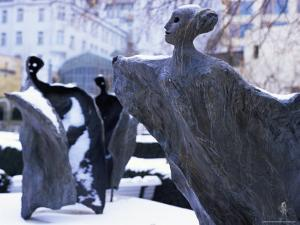 Snow Covered Statues in Frantiskanska Garden, Nove Mesto, Prague, Czech Republic, Europe by Richard Nebesky