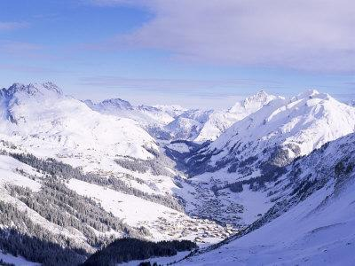 Snow-Covered Valley and Ski Resort Town of Lech, Austrian Alps, Lech, Arlberg, Austria