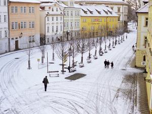Snow Covering Na Kampe Square, Kampa Island, Mala Strana Suburb, Prague, Czech Republic, Europe by Richard Nebesky
