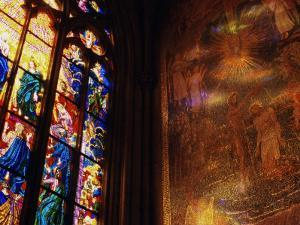 Stained Glass Window Throwing Light on Fresco, St. Vitus Cathedral, Prague, Czech Republic by Richard Nebesky