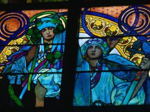 Stained-Glass Windows with Art Nouveau Mucha Designs in St. Vitus Cathedral, Prague, Czech Republic by Richard Nebesky