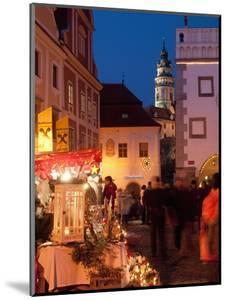 Stalls at Christmas Market With Renaissance Tower, Svornosti Square, Cesky Krumlov, Czech Republic by Richard Nebesky