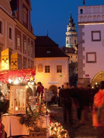Stalls at Christmas Market With Renaissance Tower, Svornosti Square, Cesky Krumlov, Czech Republic
