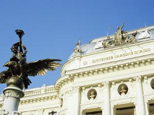 Statue and Detail of Facade of Bratislava's Neo-Baroque Slovak National Theatre, Slovakia, Europe by Richard Nebesky