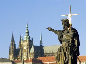 Statue of St. John the Baptist, Dating from 1857, on Charles Bridge, Prague, Czech Republic by Richard Nebesky