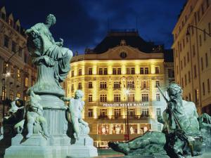 Statues at Fountain and Pension Neuer Markt at Neuer Markt Square, Innere Stadt, Vienna, Austria by Richard Nebesky