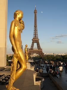 Statues of Palais De Chaillot and Eiffel Tower, Paris, France, Europe by Richard Nebesky
