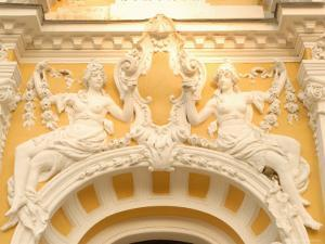 Stucco Decoration on Facade of Dvorana Glauberovych Spring Spa Building Dating from 19th Century by Richard Nebesky