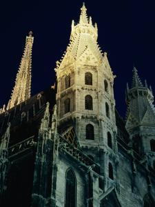 Towers of Stephansdom Cathedral at Night, Innere Stadt, Vienna, Austria by Richard Nebesky