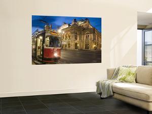 Tram Outside Statsoper (Opera House) at Opernring, Innere Stadt by Richard Nebesky