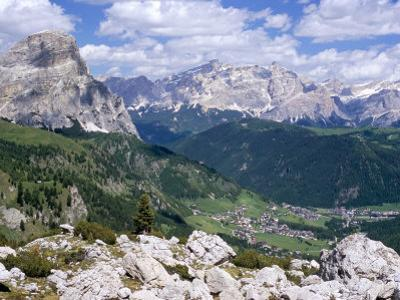 Valley East of Gardena Pass with Villages of Colfosco and Corvara, Dolomites, Alto Adige, Italy