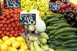 Vegetable Display at Nagycsarnok Market, Budapest, Hungary, Europe by Richard Nebesky