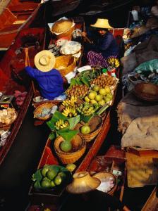 Vendors Boats/Stalls at Floating Market on Klong Damnoen Saduak, Ratchaburi, Thailand by Richard Nebesky