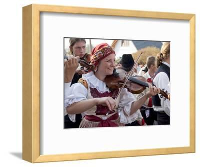 Woman Playing Violin and Wearing Folk Dress, Borsice, Brnensko, Czech Republic