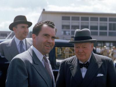 Richard Nixon and Winston Churchill--Photographic Print