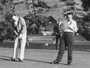 Richard Nixon Playing Golf with His Celebrity Friends Fred Macmurray and Bob Hope. Jan. 18 1970