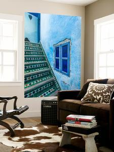 A Blue Wall and a Tiled Staircase in the Garden of Le Jardin Des Biehn by Richard Nowitz
