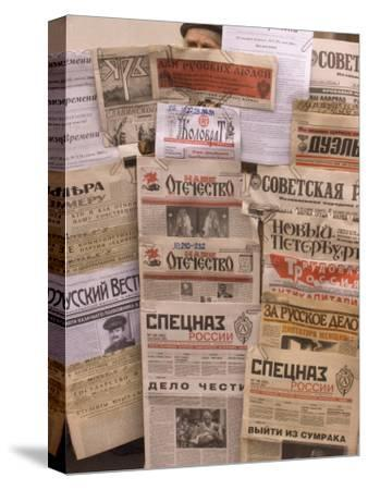 A Display of Russian Newspapers