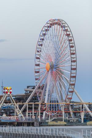 A Ferris Wheel at the Steel Pier on Wildwood Beach at Twilight