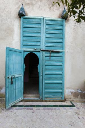 An Arched Door in Le Jardin Des Biehn, a Riad or Small Hotel in the Medina of Fez by Richard Nowitz