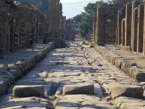 Ancient Roman Street with Chariot Ruts and Stepping Stones in Pompeii, Italy by Richard Nowitz