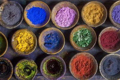 At the Marrakech Medina, Colored Powder Dyes Used in Fabric Dyeing