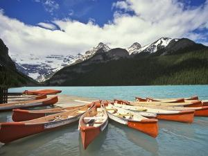 Canoes on Lake Louise by Richard Nowitz