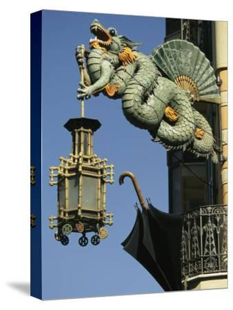 Carved Chinese Dragon with Fan and Lantern