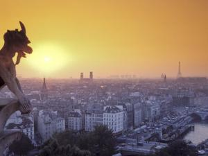 Gargoyle on Notre Dame Cathedral and Paris at Sunset by Richard Nowitz