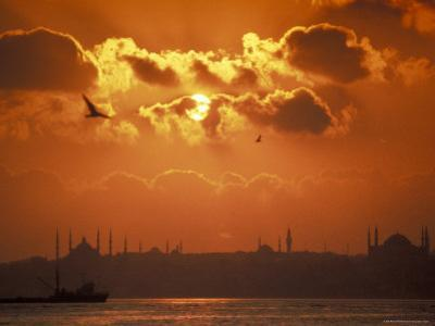 Golden Horn and Istanbul's Skyline at Sunset, Turkey