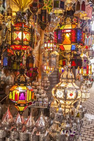 Handcrafted, Colorful Hanging Lights in the Souk in the Marrakech Medina by Richard Nowitz