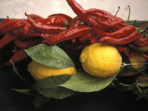 Lemons and Dried Red Peppers for Sale as Local Produce on the Amalfi Coast in Ravello, Italy by Richard Nowitz