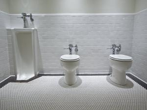 Marfa, Texas.White Tiled Men's Restroom with Two Toilets and One Urinal by Richard Nowitz